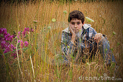 Preteen Country Boy in Field