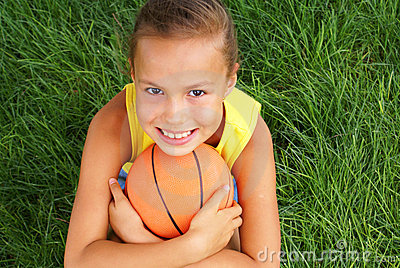 preteen girl with basketball stock photos image 8118853
