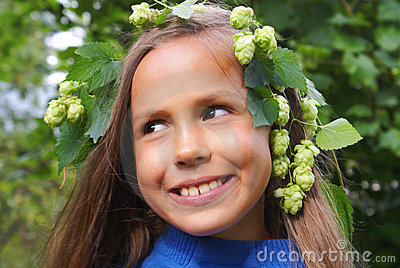 Preteen girl with hops
