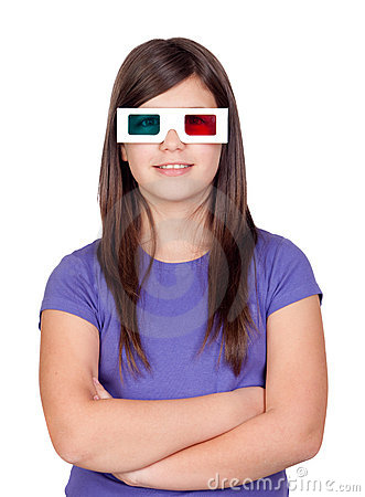 Preteen girl with three-dimensional glasses