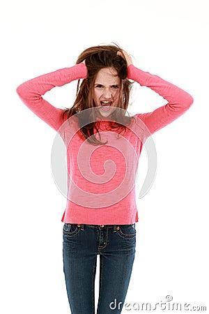 Preteen girl yelling