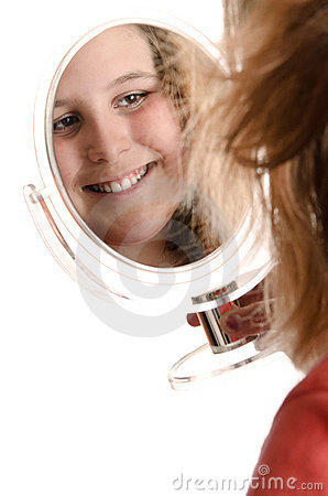 Preteen Looking In Mirror