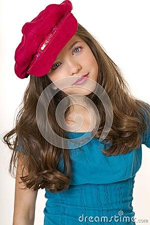 Preteen School Girl With Hat