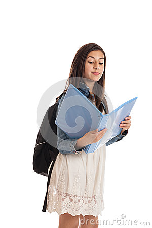 Preteen student with folder