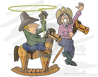 Pretend cowboys Cartoon Illustration