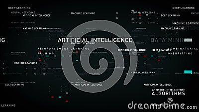 Preto da inteligência artificial das palavras-chaves ilustração stock