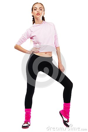Pretrty lady in sports outfit
