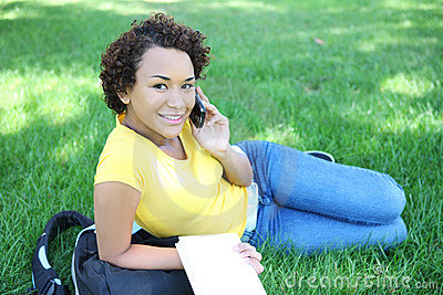 Pretty African American On Cell Phone