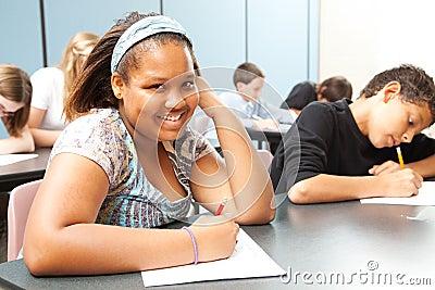Pretty African-American Teen in Class