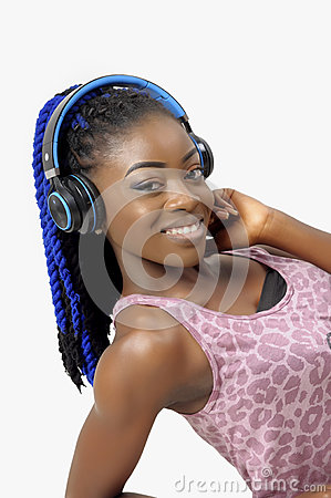 Free Pretty African American Woman Holding A Headphone Royalty Free Stock Images - 61229429