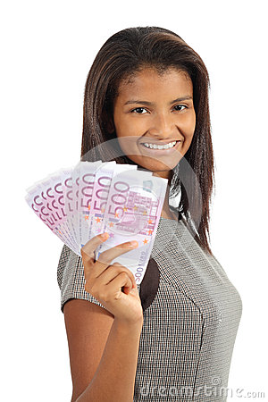 Free Pretty African American Woman Holding Money Royalty Free Stock Images - 33824979