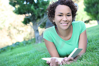 Pretty African American Woman Reading