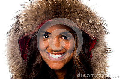 Pretty African girl in fur hood