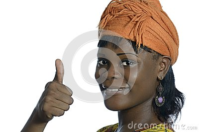 Pretty african woman thumb up