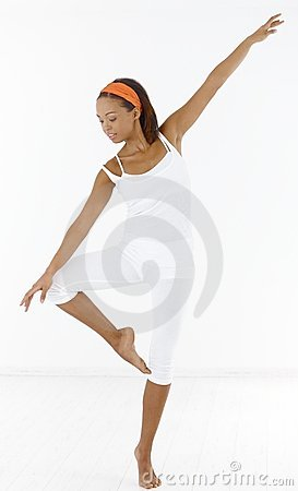 Pretty afro girl dancing ballet