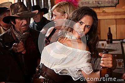 Pretty American Indian Woman in Bar