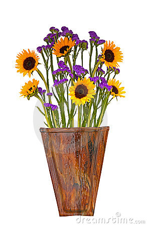 Free Pretty Arrangement Of Sunflowers In A Wooden Vase Stock Photos - 23001983
