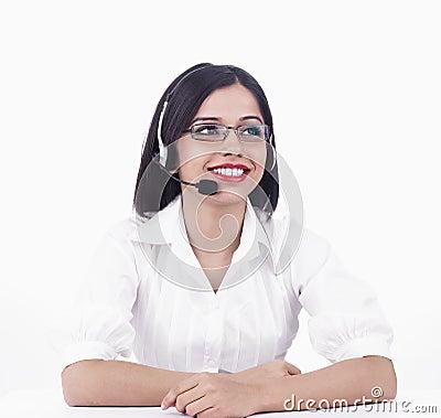 A pretty asian call centre girl