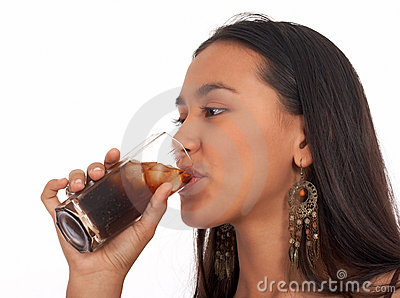 Pretty asian girl drinking