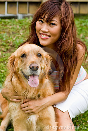 Pretty asian woman with dog