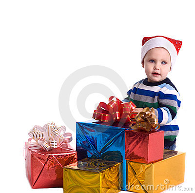 Pretty baby boy with  many gifts