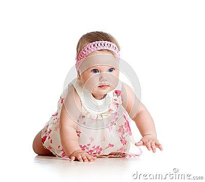 Pretty baby girl crawling on floor