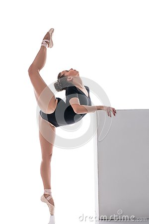 Free Pretty Ballerina Performs Vertical Split In Dance Royalty Free Stock Photography - 65488157