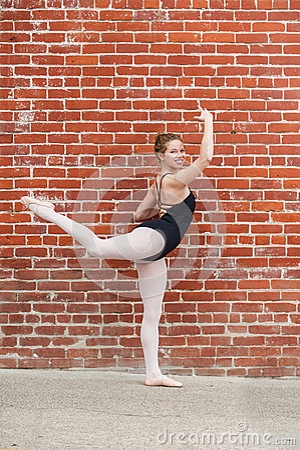 Free Pretty Ballet Girl And Red Masonary. Stock Photo - 93730670