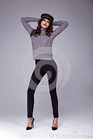 Free Pretty Beautiful Sexy Woman Wear Wool Knitted Sweater And Black Royalty Free Stock Photo - 106552285