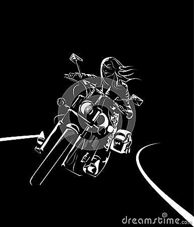 Pretty biker woman