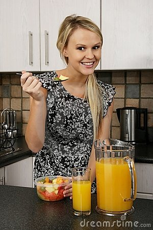 Pretty Blond Eating Healthy Food
