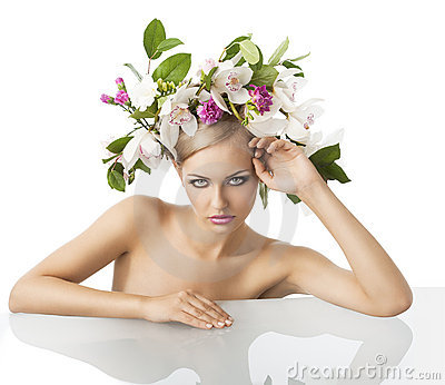 Pretty blond with flower crown on head