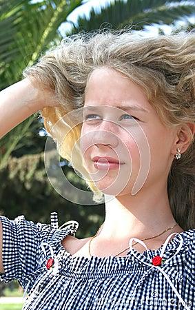 Pretty blond freckled girl