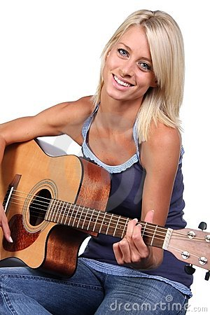 Pretty Blond Girl and Guitar