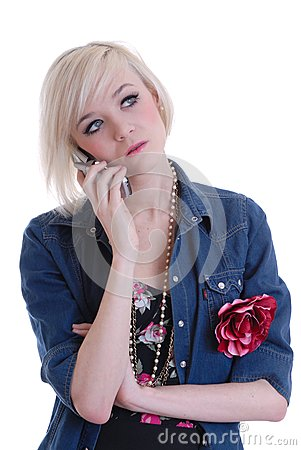 Pretty  blond girl using mobile phone