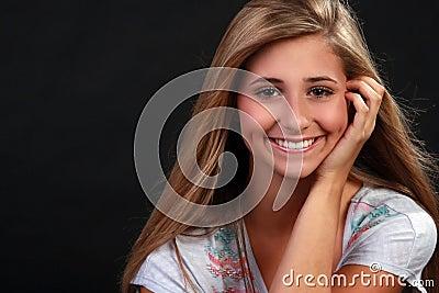 A pretty blond teenage girl