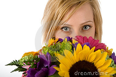 Pretty blond woman and flowers