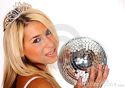 Pretty blond woman holding disco ball