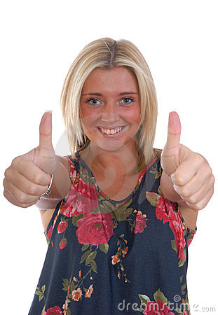 Pretty blond women thumbs up