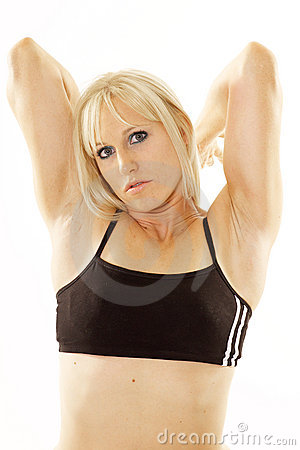 Pretty blonde arms stretched backward