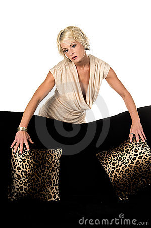 Free Pretty Blonde Behind Couch Stock Images - 3321934
