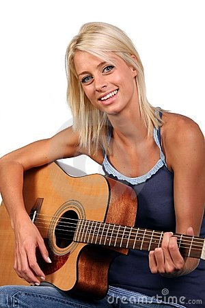 Pretty Blonde Guitar Player
