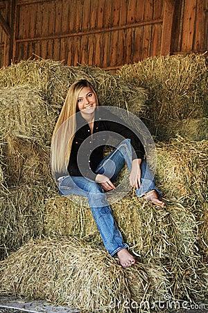 Pretty Blonde High School Senior Country Girl Royalty Free
