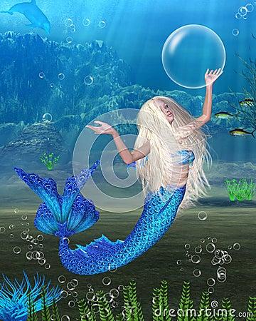 Pretty Blonde Mermaid with underwater background