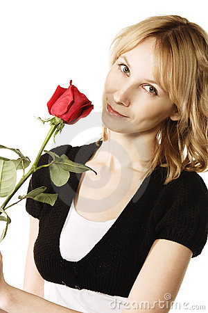 Pretty blonde with rose flower