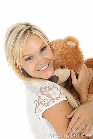 Pretty Blonde And Stuffed Bear Royalty Free Stock Images - Image: 18275439