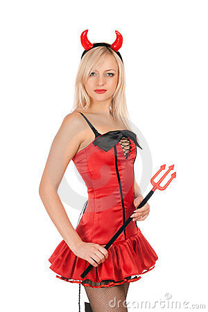 Pretty blonde is wearing a devil costume