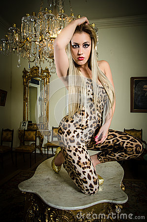 Pretty Blonde Woman In A Leopard Print Dress Stock Photo