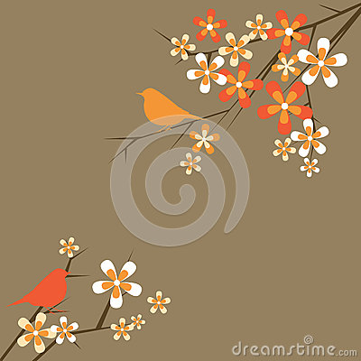 Floral and bird decorative background