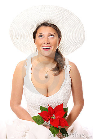 Pretty bride in a hat